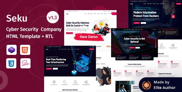 Seku - Cyber Security Company HTML Template - Technology Site Templates