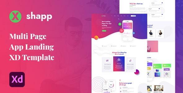 Xshapp - Multipage App Landing XD Template - Software Technology
