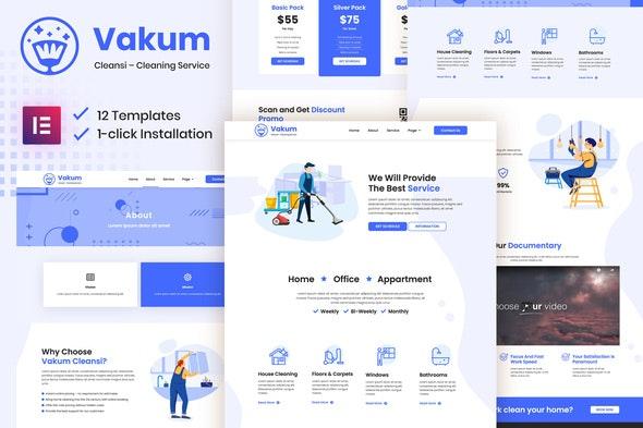 Vakum - Cleaning Service Elementor Template Kit - Business & Services Elementor