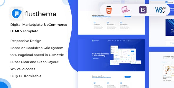 FluxTheme - Digital Marketplate & eCommerce HTML5 Template