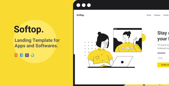Softop — Landing Template for Apps and Softwares - Landing Pages Marketing