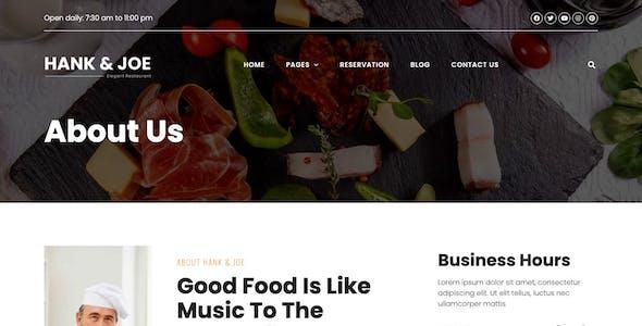 Hank & Joe – Elegant Restaurant Elementor Template Kit