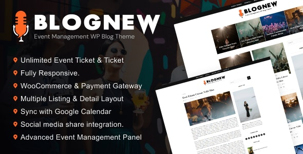 Blognew – Event Management WordPress Blog Theme - Blog / Magazine WordPress