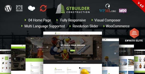 GTBuilder - Construction & Building WordPress Theme