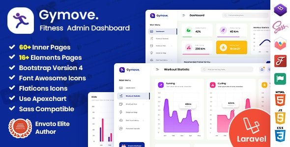 Gymove - Fitness Admin Dashboard Laravel Bootstrap Template - Admin Templates Site Templates