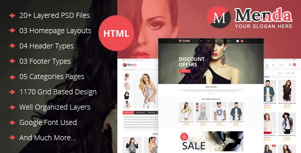 Menda - eCommerce Html Template - Retail Site Templates