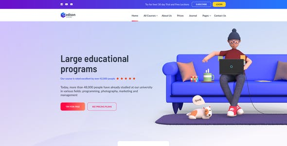 Edison – Online Education Template for XD