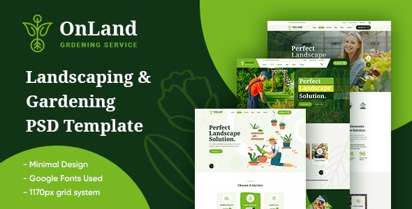 OnLand - Gardening and Landscaping PSD Template - Business Corporate
