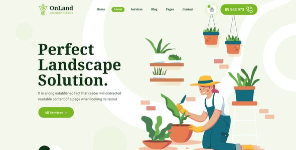 OnLand - Gardening and Landscaping PSD Template