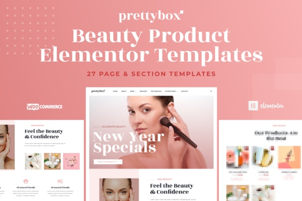 Prettybox - Cosmetic & Beauty Products Shop Elementor Template Kit - Fashion & Beauty Elementor