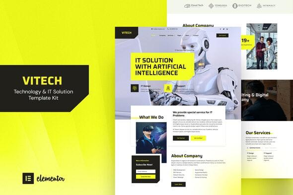 Vitech - Technology & IT Solution Elementor Template Kit - Technology & Apps Elementor