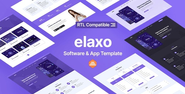 Elaxo - App and Software Website Template + RTL - Software Technology