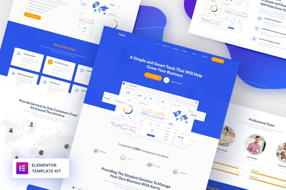 Xarris - SaaS & Startup Elementor Template Kit - Technology & Apps Elementor