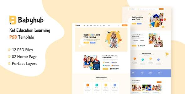 Babyhub - Kids Kindergarten PSD Template - Children Retail