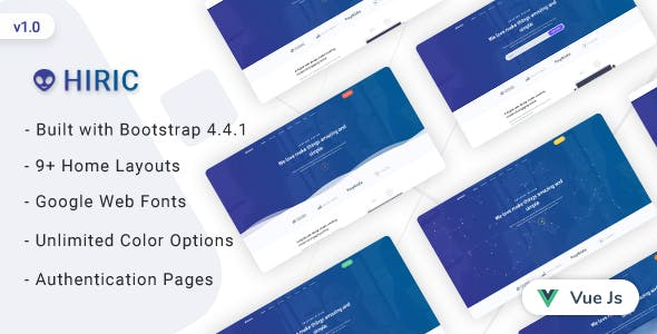 Hiric - VueJs Landing Page Template
