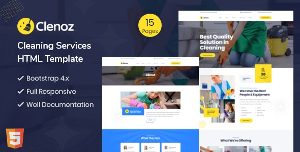 Clenoz - Cleaning Service HTML Template - Business Corporate