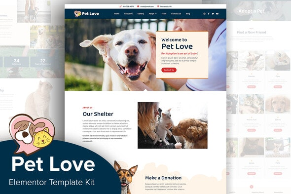 Pet Love - Animal Shelter Elementor Template Kit - Non-Profit & Religion Elementor