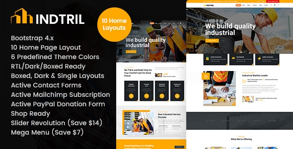 Indtril - Construction & Renovation HTML - Business Corporate