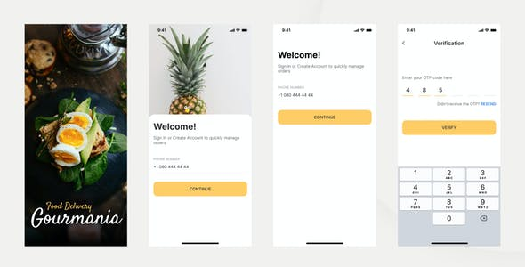 Gourmania – Food Delivery App UI Kit Adobe XD Template