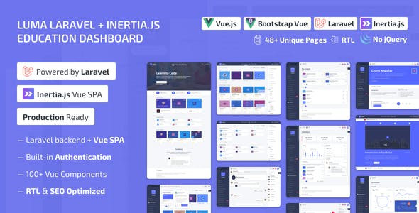 Luma Laravel LMS & Vue Education Admin Dashboard Template