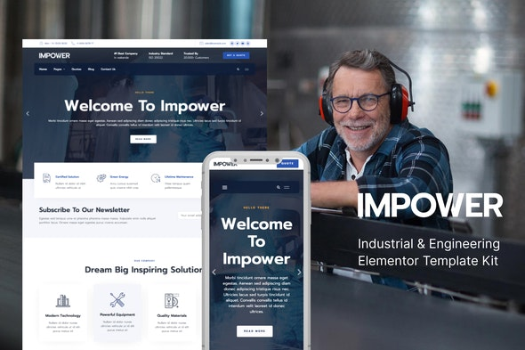 Impower - Engineering and Industrial Template Kit - Business & Services Elementor