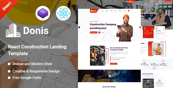 Donis - Construction React Template - Corporate Site Templates