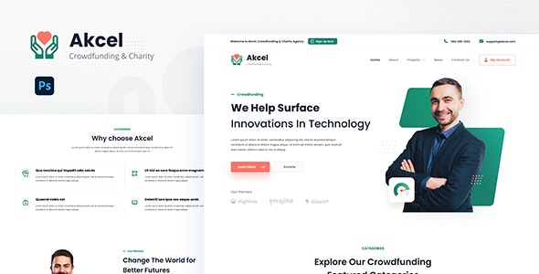 Akcel - Modern Crowdfunding and Charity Website Design Template PSD - Charity Nonprofit