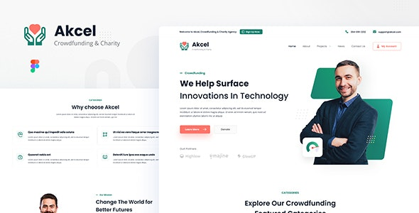 Akcel - Modern Crowdfunding and Charity Website Design Template Figma - Charity Nonprofit