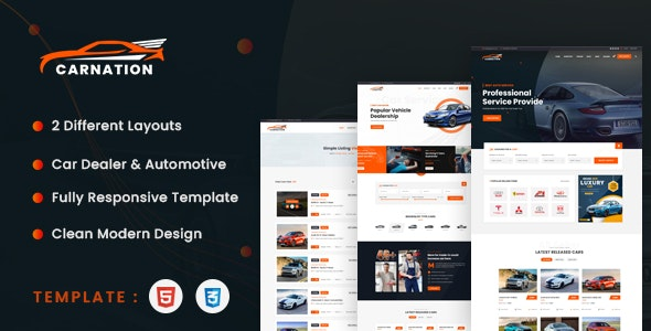 Carnation - Car Dealership and Listings HTML Template - Business Corporate