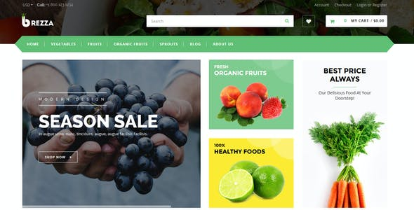 Brezza - Fruits & Food Store Shopify Theme & Template