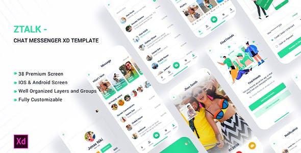 Ztalk - Chat Messaging Adobe XD Template