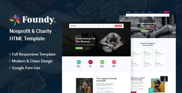 Foundy - Nonprofit Charity HTML Template - Charity Nonprofit