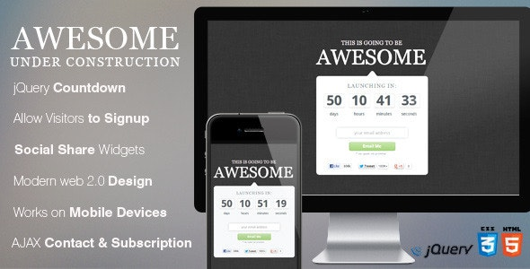 Awesome Coming Soon Page - Under Construction Specialty Pages