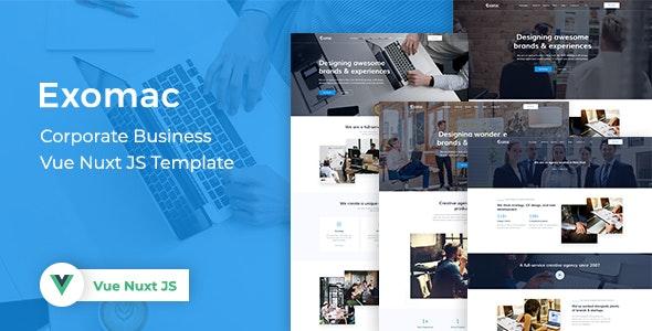 Exomac Corporate Business Vue Nuxt JS Template