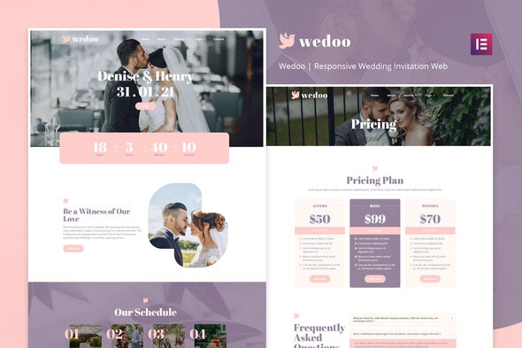 Wedoo - Online Wedding Invitation Elementor Template Kit - Weddings Elementor
