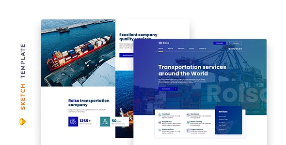 Rolso – Logistic Company Template for Sketch - Corporate Sketch