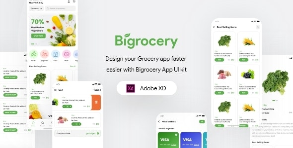Bigrocery For Adobe XD - Food Retail