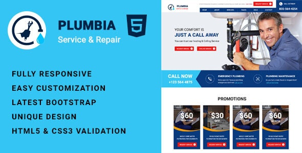 Plumbia - Company HTML Template - Site Templates