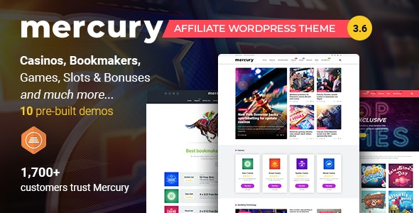 Mercury -  Gambling & Casino Affiliate WordPress Theme. News & Reviews - News / Editorial Blog / Magazine