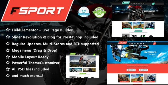 FSport - Motor & Bike Equipments PrestaShop 1.7 & 1.6 Theme - Shopping PrestaShop