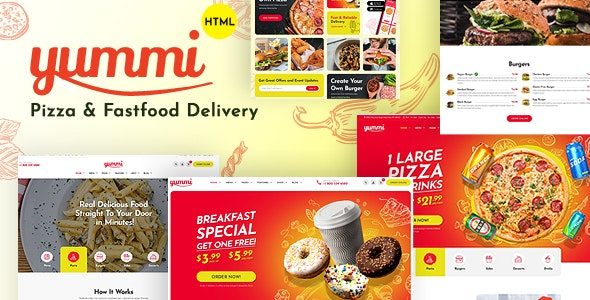 Yummi - Fast Food Delivery Restaurant HTML Template - Restaurants & Cafes Entertainment