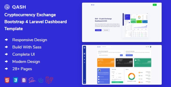 Qash - Cryptocurrency Exchange Bootstrap Laravel Dashboard Template - Admin Templates Site Templates