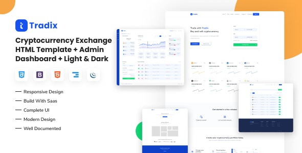 Tradix - Cryptocurrency Exchange HTML Template + Admin Dashboard + Light & Dark - Software Technology