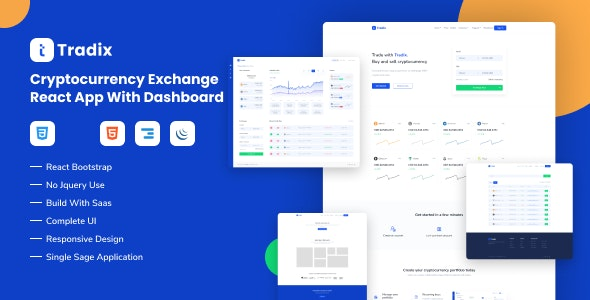 Tradix - Cryptocurrency Exchange React App with Dashboard - Software Technology