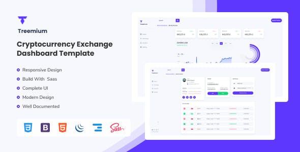 Treemium - Cryptocurrency Exchange Dashboard Template