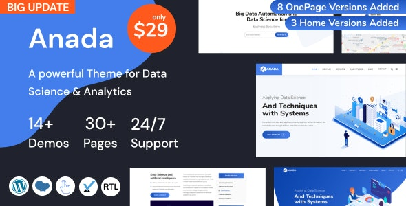 Anada - Data Science & Analytics Saas WordPress Theme - Technology WordPress
