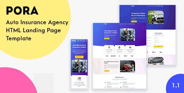 Pora - Auto Insurance Agency HTML Landing Page Template