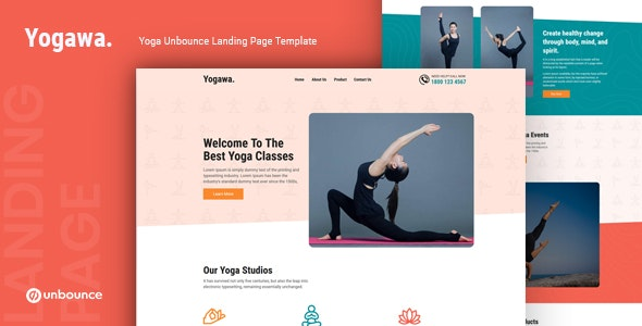 Yogawa — Yoga Unbounce Landing Page Template - Unbounce Landing Pages Marketing