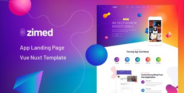 Zimed - Vue Nuxt App Landing Page Template - Technology Site Templates