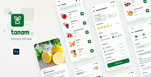 Tanam - Clean Grocery iOS App Design Template - Retail Photoshop